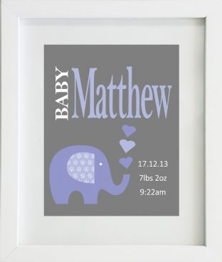Personalised Baby Boy Birth Statistics with Blue Elephant Print